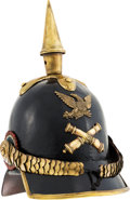 Militaria:Helmets, Rare American Militia Spiked Helmet Patterned After the Prussian Model 1842 Pickelhaube....