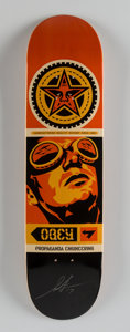 Fine Art - Sculpture, American:Contemporary (1950 to present), Shepard Fairey (b. 1970). Obey Skate Deck, 2017. Screenprinton skate deck. 32 x 8 inches (81.3 x 20.3 cm). Signed and d...