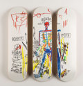 Prints & Multiples, After Jean-Michel Basquiat X The Skateroom. Robot, triptych (Open Edition), 2016. Screenprints in colors on skate decks... (Total: 3 Items)