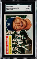 Baseball Cards:Singles (1950-1959), 1956 Topps Mickey Mantle (Gray Back) #135 SGC 82 EX/MT+ 6.5....