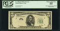 Error Notes:Obstruction Errors, Obstructed Overprint with BEP Rejection Mark. Fr. 1962-D $5 1950AFederal Reserve Note. PCGS Choice About New 55.. ...