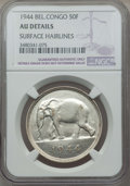Belgian Congo, Belgian Congo: Belgian Congo 50 Francs 1944 AU Details (SurfaceHairlines) NGC,...