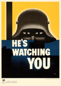 "Movie Posters:War, World War II Lot (U.S. Government Printing Office, 1942). Poster(10"" X 14.25"") ""He's Watching You,"" Glenn Grohe Artwork.. ..."