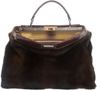 "Fendi Brown Mink & Ayers Snakeskin Large Peekaboo Bag Condition: 1 16"" Width x 12"" Height x 7"" De"
