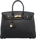 """Luxury Accessories:Bags, Hermes 35cm Black Togo Leather Birkin Bag with Gold Hardware. I Square, 2005. Condition: 2. 14"""" Width x 10"""" Height..."""