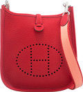 """Luxury Accessories:Bags, Hermes Rouge Vif Clemence Leather Evelyne TPM Bag with PalladiumHardware. Q Square, 2013. Condition: 2. 6.5""""Widt..."""