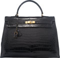 "Luxury Accessories:Bags, Hermes 35cm Shiny Black Crocodile Sellier Kelly Bag with GoldHardwareCirca 1940'sCondition: 414"" Width x 10"" Height x5..."