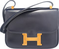 """Luxury Accessories:Bags, Hermes 23cm Blue Marine Calf Box Leather Constance Bag with GoldHardware. X, 1968. Condition: 4. 9"""" Width x 7""""He..."""