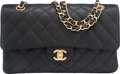 """Luxury Accessories:Bags, Chanel Black Quilted Caviar Leather Medium Double Flap Bag withGold Hardware. Condition: 2. 10"""" Width x 6"""" Height x2..."""