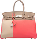 Luxury Accessories:Bags, Hermes Limited Edition 35cm Rose Jaipur Clemence, Etain, & Gris Tourterelle Swift Leather Cascade Birkin Bag with Brushed Pall...