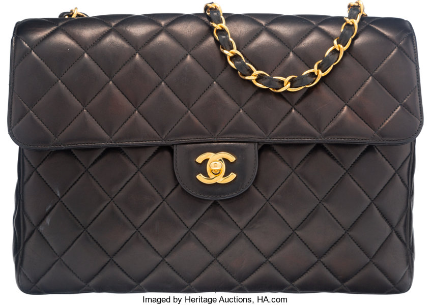 Chanel Black Quilted Lambskin Leather Jumbo Flap Bag. Condition  4 ... c093f2a4d2105