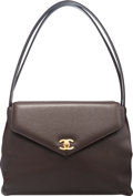 "Luxury Accessories:Bags, Chanel Brown Caviar Leather Shoulder Bag. Condition: 3.10"" Width x 8"" Height x 4"" Depth. ..."