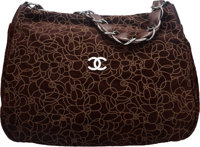 "Chanel Brown Camellia Suede Shoulder Bag Condition: 2 16"" Width x 12"" Height x 5"" Depth"