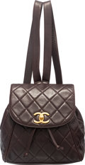 "Luxury Accessories:Bags, Chanel Brown Quilted Lambskin Leather Backpack Bag. Condition:3. 9"" Width x 10"" Height x 4"" Depth. ..."