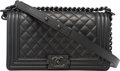 "Luxury Accessories:Bags, Chanel So Black Black Quilted Caviar Leather Medium Boy Bag.Condition: 1. 10"" Width x 5.5"" Height x 3"" Depth. ..."