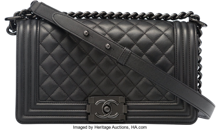 d31b48b105f9 Luxury Accessories:Bags, Chanel So Black Black Quilted Caviar Leather Medium  Boy Bag.