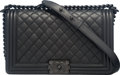 """Luxury Accessories:Bags, Chanel So Black Black Quilted Caviar Leather Medium Boy Bag. Condition: 1. 11"""" Width x 7"""" Height x 3.5"""" Depth. ..."""