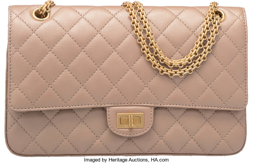 17ec689943da64 Luxury Accessories:Bags, Chanel Metallic Champagne Gold Quilted Leather Reissue  226 DoubleFlap Bag.