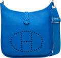 """Luxury Accessories:Bags, Hermes Blue Hydra Clemence Leather Evelyne III GM Bag with Palladium Hardware. X, 2016. Condition: 1. 13"""" Width x ..."""