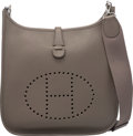 """Luxury Accessories:Bags, Hermes Etain Clemence Leather Evelyne III PM Bag with Palladium Hardware. T, 2015. Condition: 2. 11"""" Width x 12"""" H..."""