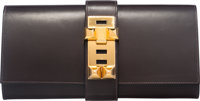 Hermes 29cm Chocolate Calf Box Leather Medor Clutch Bag with Gold Hardware K Square, 2007 Conditi