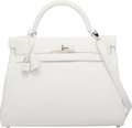 """Luxury Accessories:Bags, Hermes 32cm White Swift Leather Retourne Kelly Bag with PalladiumHardware. L Square, 2008. Condition: 1. 12.5""""Wi..."""