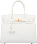 "Luxury Accessories:Bags, Hermes 30cm White Clemence Leather Birkin Bag with Gold Hardware.L Square, 2008. Condition: 2. 12"" Width x 8""Hei..."