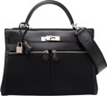 Luxury Accessories:Bags, Hermes 32cm Black Calf Box Leather & Toile Officier CanvasKelly Lakis Bag with Palladium Hardware. L Square, 2008.Co...