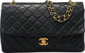 "Luxury Accessories:Accessories, Chanel Black Quilted Lambskin Leather Flap Bag with Gold Hardware.Condition: 4. 10"" Width x 6.5"" Height x 3' Depth..."