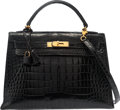 "Luxury Accessories:Bags, Hermes 32cm Shiny Black Caiman Crocodile Sellier Kelly Bag withGold Hardware. K Circle, 1981. Condition: 4.12.5""..."