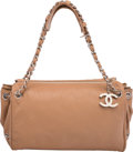 "Luxury Accessories:Bags, Chanel Beige Leather Shoulder Bag. Condition: 4. 12"" Width x 6"" Height x 6.5"" Depth. ..."