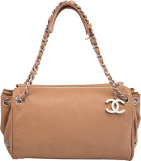 "Chanel Beige Leather Shoulder Bag Condition: 4 12"" Width x 6"" Height x 6.5"" Depth"