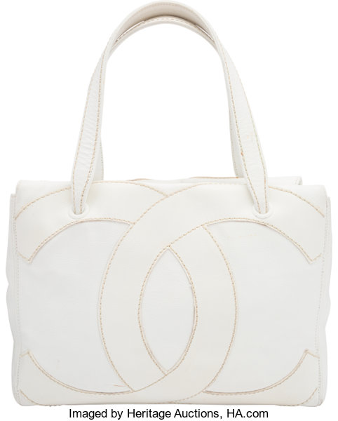 6ea612b9abdc Chanel White Caviar Leather Tote Bag. Condition  4. 14