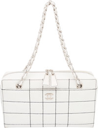 "Chanel White Quilted Leather Tote Bag Condition: 4 11.5"" Width x 6.5"" Height x 3"" Depth"