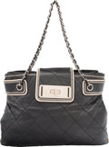 """Luxury Accessories:Bags, Chanel Black Quilted Lambskin Leather Shoulder Bag. Condition: 4. 15"""" Width x 10"""" Height x 4"""" Depth. ..."""