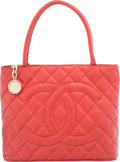 "Luxury Accessories:Bags, Chanel Red Quilted Caviar Leather Medallion Tote Bag. Condition:3. 12"" Width x 10"" Height x 6"" Depth. ..."