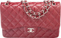 "Luxury Accessories:Bags, Chanel Red Quilted Patent Leather Jumbo Double Flap Bag.Condition: 3. 12"" Width x 8"" Height x 3"" Depth. ..."