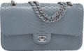 """Luxury Accessories:Bags, Chanel Blue Python Medium Double Flap Bag. Condition: 1. 10"""" Width x 6"""" Height x 2.5"""" Depth. ..."""