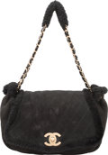 "Luxury Accessories:Accessories, Chanel Black Suede & Shearling Shoulder Bag. Condition:2. 11"" Width x 9"" Height x 4.5"" Depth"