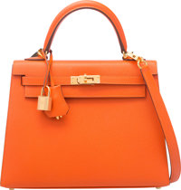 Hermes 25cm Feu Epsom Leather Sellier Kelly Bag with Gold Hardware X, 2016 Condition: 1