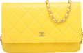 "Luxury Accessories:Accessories, Chanel Yellow Quilted Lambskin Leather Wallet on Chain Bag .Condition: 2. 6.5"" Width x 5.5"" Height x 2.5"" Depth...."