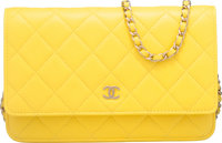 "Chanel Yellow Quilted Lambskin Leather Wallet on Chain Bag Condition: 2 6.5"" Width x 5.5"" Height"