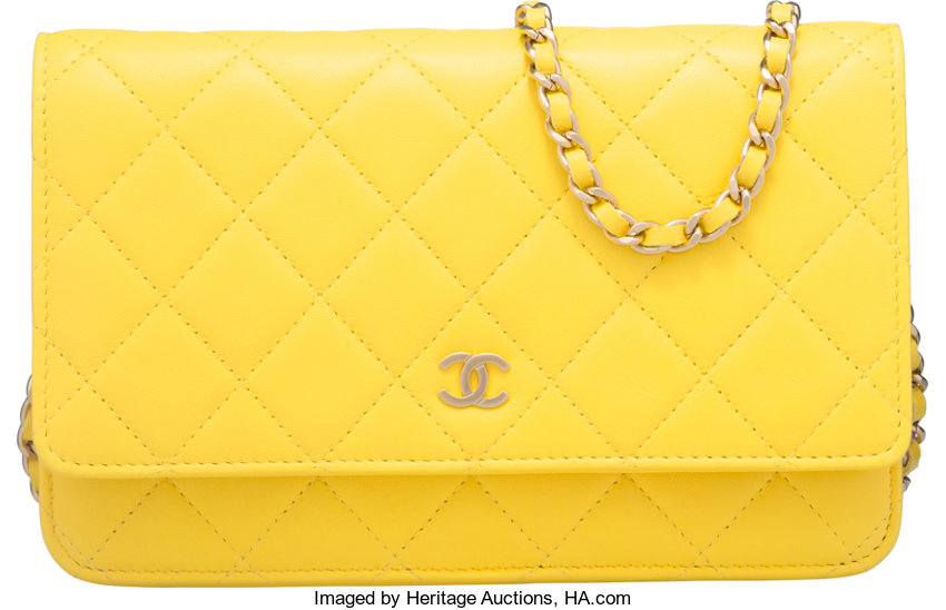 dda16631cc75 Condition; Luxury Accessories:Accessories, Chanel Yellow Quilted Lambskin  Leather Wallet on Chain Bag .