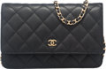 "Luxury Accessories:Accessories, Chanel Black Quilted Caviar Leather Wallet on Chain Shoulder Bag. Condition: 2. 9"" Width x 5.5"" x Height x 2.5"". ..."