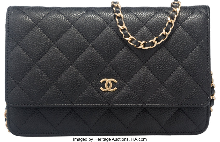 66634b3299 Luxury Accessories:Accessories, Chanel Black Quilted Caviar Leather Wallet  on Chain Shoulder Bag.