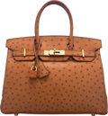 """Luxury Accessories:Bags, Hermes 30cm Cognac Ostrich Birkin Bag with Gold Hardware. G Square, 2003. Condition: 3. 12"""" Width x 8"""" Height x 6""""..."""
