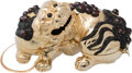 "Luxury Accessories:Bags, Judith Leiber Half Bead Gold Crystal Foo Dog Minaudiere EveningBag. Condition: 2. 7"" Width x 3.5"" Height x 1.5""Depth..."