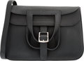 "Luxury Accessories:Bags, Hermes 31cm Black Clemence Leather Halzan Bag with PalladiumHardware. X, 2016. Condition: 1. 12"" Width x 8""Heigh..."