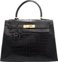 "Luxury Accessories:Bags, Hermes 28cm Shiny Black Crocodile Sellier Kelly Bag with Gold Hardware. Circa 1960's. Condition: 4. 11.5"" Width x ..."