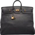 "Luxury Accessories:Bags, Hermes 55cm Black Ardennes Leather HAC Birkin Bag with Gold Hardware. B Square, 1998. Condition: 4. 21.5"" Width x ..."